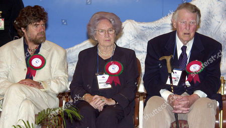HILLARY Sir Edmund Hillary, right, June Hillary, center and Reinhold Messner, left, look on during ceremonies in Katmandu, Nepal, on the 50th anniversary of the conquering of Mount Everest. Hillary and Sherpa Tenzing Norgay were the first to scaled the 8,850-meter (29,035 foot) summit on May 29, 1953. Messner was the first to scale the summit without the aid of bottled oxygen
