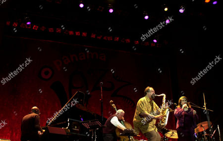 Joe Lovano plays tenor saxophone with his band during the first day of Panama Jazz Festival in Panama City, Panama
