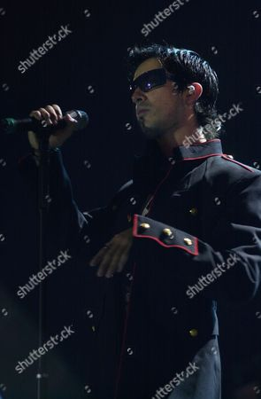Stock Image of PICHARDO Lead singer Alfonso Pichardo of the Mexican band, Moenia, performs during a concert of their Televisor Tour in Panama City, Panama
