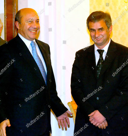 IVANOV KHAJIMBA Russian Foreign Minister Igor Ivanov, left, greets Raul Khajimba, Prime Minister of Abkhazia, a region that broke away from Georgia in a bloody war in the early 1990's, in Moscow