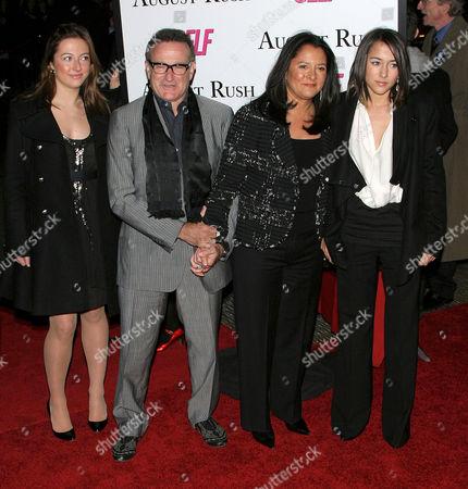 Robin Williams, Marsha Garces Williams and Zelda Williams