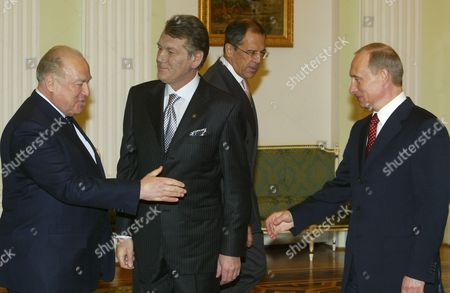 PUTIN YUSHCHENKO President Vladimir Putin, right, greets Viktor Chernomyrdin, left, Russian Ambassador to Ukraine, as Ukrainian President Viktor Yushchenko, center, looks on in the Kremlin in Moscow, . In the background is Russian Foreign Minister Sergey Lavrov. A day after taking office as Ukraine's president, Yushchenko arrived in Russia to smooth relations with the Kremlin, which feared he would take his country out of Moscow's sphere of influence