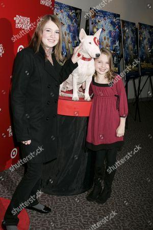 Danielle Hanratty and Sammi Hanratty and Bullseye the Target dog