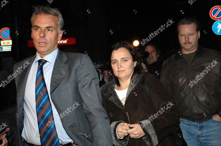 Lawyer Carlo Della Vedova (left), Curt Knox and his ex-wife Edda Mellas
