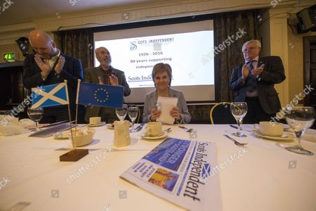 Grant Thoms, current editor of the Scots Independent newspaper, Denholm Christie, Chairman of the Scots Independent newspaper, Nicola Sturgeon, First Minister of Scotland and Leader of the Scottish National Party (SNP), and Ian Hudghton MEP and President of the Scottish National Party (SNP)
