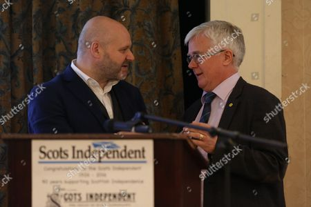 Grant Thoms, current editor of the Scots Independent newspaper, and Ian Hudghton MEP and President of the Scottish National Party (SNP)