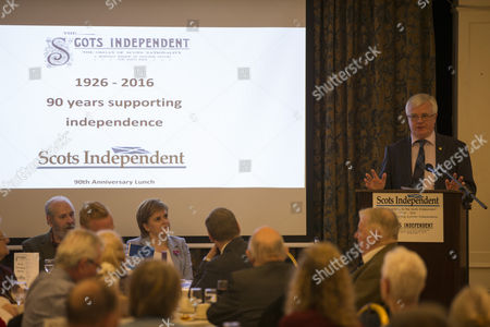 Denholm Chrstie, Chairman of the Scots Independent newspaper, and Nicola Sturgeon, First Minister of Scotland and Leader of the Scottish National Party (SNP), listen to Ian Hudghton MEP and President of the Scottish National Party (SNP)