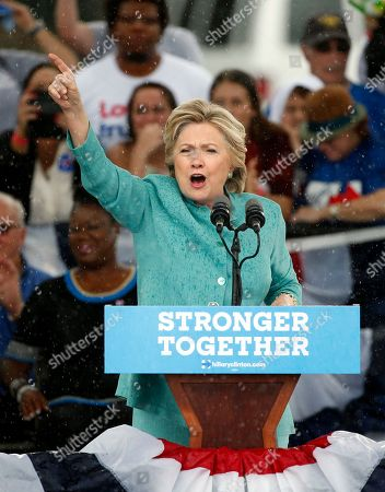 Stock Photo of Hillary Clinton Democratic presidential candidate Hillary Clinton speaks to supporters during a Jung Ji-hoon storm at a rally, in Pembroke Pines, Fla