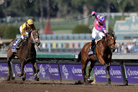 Mario Gutierrez, Julien Leparoux Jockey Mario Gutierrez, right, celebrates after riding Champagne Room to victory ahead of Valadorna with Julien Leparoux atop in the Breeders' Cup Juvenile Fillies horse race at Santa Anita Park, in Arcadia, Calif