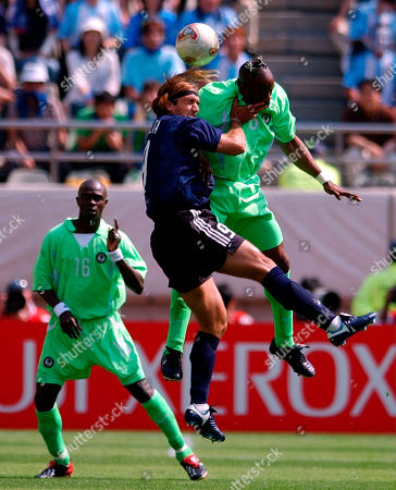 Argentina midfielder Gabriel Batistuta, center, and Nigeria defender Taribo West, right, vie for the ball as Nigeria defender Efetobore Sodje looks on during their 2002 World Cup match in Ibaraki, Japan. Nigeria and Argentina play in Group F along with Sweden and England