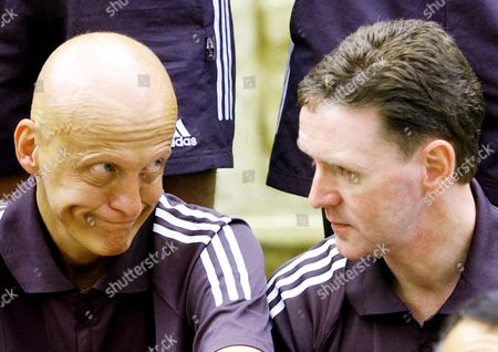 COLLINA DALLAS Referees Pierluigi Collina, left, of Italy, chats with Hugh Dallas, of Scotland, during a photo session of 72 World Cup referees in Seoul prior to an unveiling ceremony of official referee uniforms for the FIFA World Cup, which kicks off May 31
