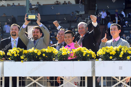 , Santa Anita, USA, Winners presentation. Champagne Room with Mario Gutierrez up wins the Breeders' Cup Juvenile Fillies.