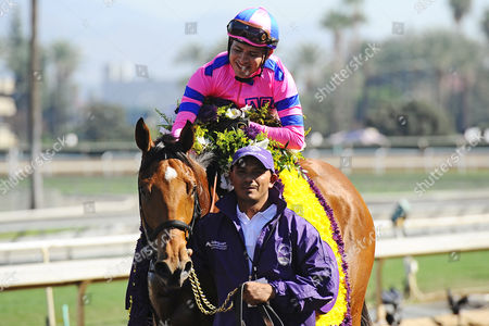 , Santa Anita, USA, Champagne Room with Mario Gutierrez up after winning the Breeders' Cup Juvenile Fillies.