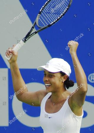 STEVENSON American Alexandra Stevenson raises her arms in celebration after her win over fellow American Jennifer Capriati at the Sydney International tennis tournament in Sydney, . Stevenson won 7-6, 3-6, 6-4