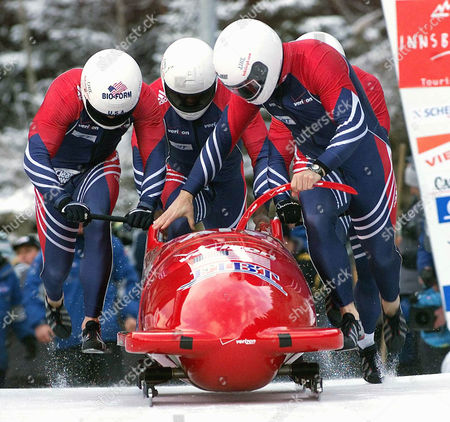 JOVANOVIC U.S. bobsled with, from left, Todd Hay, Randy Jones, Garrett Hines and Paul Jovanovic during the start of the first run of the four-men bobsled World Cup race in Innsbruck-Igls, Austria on