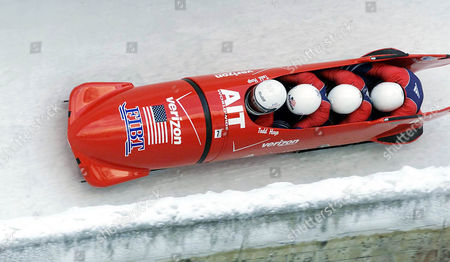 JOVANOVIC U.S. bobsled with Todd Hay, Randy Jones, Garrett Hines and Paul Jovanovic during the first run of the four-men bobsled World Cup race in Innsbruck-Igls, Austria on