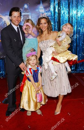 Jamie Bamber, wife Kerry Norton and daughters Isla, Ava and Darcy