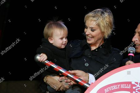 UNICEF Representative Sharon Stone and son Quinn Kelly Stone