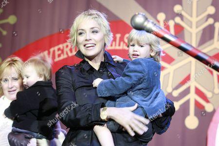 UNICEF Representative Sharon Stone and son Laird Vonne Stone