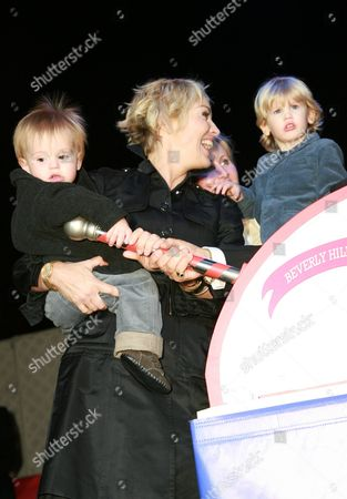 Sharon Stone with sons Laird Vonne Stone and Roan Joseph Bronstein
