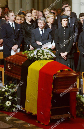 Stock Photo of LORENZ Belgium's Prince Philip, left, Princess Mathilde, second left, Prince Alexander, center, Princess Astrid, third right, Princess Marie-Esmeralda, second right, and Prince Lorenz, right, pray as they attend the funeral of Belgium's Princess Lilian at the Church of Our Lady in Brussels, . Princess Lilian, second wife of Belgium's King Leopold III, died June 7 on the age of 85