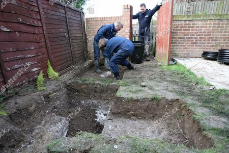 Forensic archeologists carry out further digging after removing a shed next to where the remains of Vicky Hamilton were discovered in the garden of the house in Margate The remains of Dinah McNicol were later discovered at the site