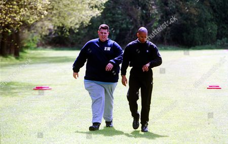 Rick Waller (left) with Harvey Walden -The Fitness Expert for 'Celebrity Fit Club' - 2002
