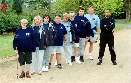 Ann Widdecombe, Nicola Duffett, Coleen Nolan, Jono Coleman, Kay Purcell, Ian McCaskill, Rick Waller, Tommy Walsh and Harvey Walden the fitness expert  in  'Celebrity Fit Club' - 2002