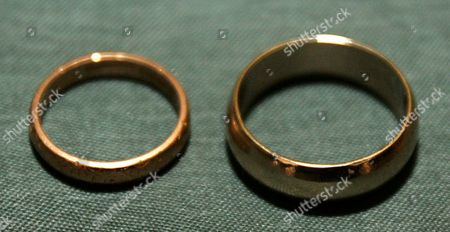 The wedding rings of Peggy Clark, 84 and James Mason, 93 at their wedding as they become Britains oldest newly married couple at Oldway Mansion, Paignton, Devon.