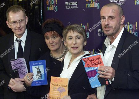 Stock Image of Four of the winning authors short listed for the Whitbread Book of the Year 2001, in London . From left to right: Sid Smith, Something Like a House, first novel award; Selima Hill, Bunny, poetry award; Diana Souhami, Selkirk's Island, biography award; and Patrick Neale, Twelve Bar Blues, novel award
