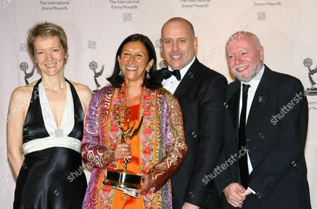Stock Photo of Script executive Roxy Spencer (1st L), executive producer Sita Williams (2nd L), directors David Blair (2nd R) and Terry McDonough