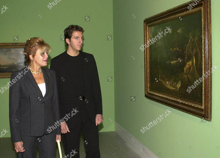 "Stock Photo of BORJA Spanish Baroness Carmen Thyssen-Bronemisza (maiden name: Maria del Carmen Cervera Fernandez de la Guerra), wife of Baron Hans Heinrich Thyssen-Bornemisza, and her son Borja review the exhibition ""Landscapes from Brueghel to Kandinsky"" in the Art and Exhibition Hall of the Federal Repuplic of Germany in Bonn, western Germany, . They open the exhibition in honour of the collector Baron Hans Heinrich Thyssen-Bornemisza. She was first married with the American film star Lex Barker. Baron Thyssen adopted her son Borja"