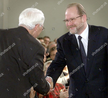 HABERMAS REEMTSMA German philosopher Juergen Habermas, left, is congratulated by Jan Philipp Reemtsma, right, who delivered the laudatory speech, prior to the awarding ceremony of the renowned Peace Prize of the German Booktraders' Association which Habermas received in Frankfurt, Germany