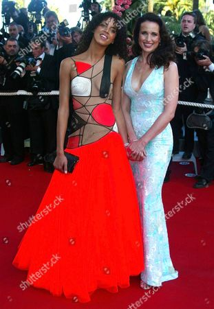 """MACDOWELL LENOIR French actress Noemi Lenoir, left, and American actress Andie MacDowell arrive for the screening of the film """"Fanfan La Tulipe,"""" out of competition, directed by French director Gerard Krawczyk, at the opening of the 56th Film Festival in Cannes, France"""
