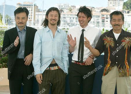 "FUJI From left Japanese director Kiyoshi Kurosawa, Japanese actors Tananobu Asano, Joe Odagiri, and Tatsuya Fuji, smile as they pose for their film""Akarui Mirai,"" (Bright Future) in competition, during a photo call at the 56th Film Festival in Cannes, France"