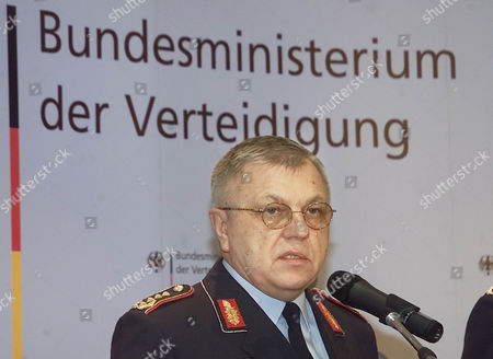 Chief of Staff of the German armed forces Harald Kujat announces during a press conference at the Defense ministry in Berlin, that two German soldiers died as they removed millitary rocket bombs in Kabul
