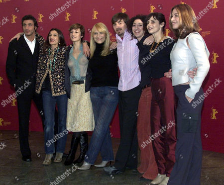 """Spanish actor Daniele Liotti, Spanish actresses Angela Molina, Najwa Nimri, Antonia San Juan, director Ramon Salazar Hoogers, Monica Cervera, Vicky Pena and Maria Casal, from left to right, pose for the photographers during a photo call prior to the press conference about their film """" Piedras""""(Stones) at the 52nd Berlinale International Film Festival in Berlin . The Spanish production will take part at the festival's competition for the Golden Bear"""