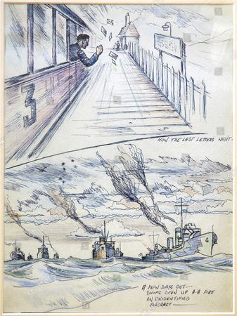 Fred Goodwin depicted his war through pictures and this shows a serviceman throwing letters from the train as he was dispatched to foreign lands, in this case it was the Dutch East Indies. The second picture shows Fred's convoy on its way