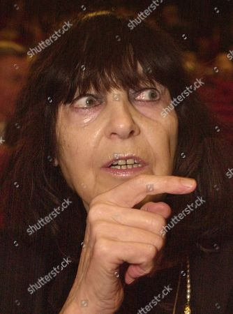 """Stock Image of FRIEDERIKE MAYROECKER Austrian author Friederike Mayroecker gestures during the awarding ceremony of the Georg Buechner prize in the Stadttheater in Darmstadt, Germany, . The jury, which awarded her with the 60,000 Germanmarks (dlrs US 27,500) prize, lauded her tendency to avoid """"popular literary trends while always arousing critics discussion"""