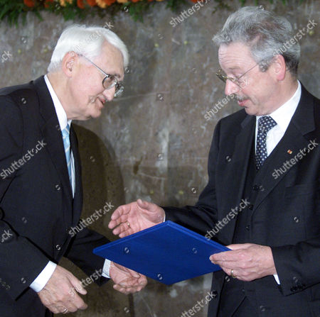 HABERMAS ULMER German philosopher Juergen Habermas, left, receives the renowned Peace Prize of the German Booktraders' Association by the association's President Roland Ulmer, right, in Frankfurt, Germany