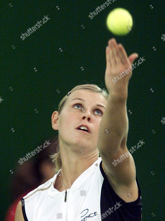 HUBER German tennis player Anke Huber focuses the ball during her first round match vs. Russia's Elena Likhovtseva during the Porsche Tennis Grand Prix in Filderstadt, southern Germany, on