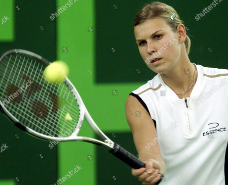 HUBER German tennis player Anke Huber returns the ball during her first round match vs. Russia's Elena Likhovtseva during the Porsche Tennis Grand Prix in Filderstadt, southern Germany, on