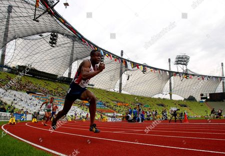 Britain's Daniel Caines starts his Men's 400 meters 1st round heat during the European Athletics Championships in the Olympic Stadium in Munich, Germany