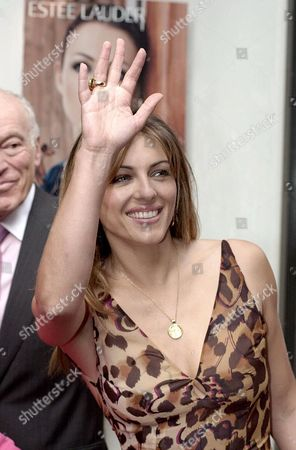 HURLEY British model and actress Elizabeth Hurley, attends the launch of the new Brown Thomas Cosmetics Hall in Dublin . Hurley's spokesman said Thursday, April 4, 2002, that he was delighted to announce the birth of her son Damien Charles