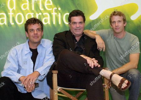 From left, American actor Danny Houston, Israeli director Amos Gitai and American actor Thomas Jane pose during a photocall to present their movie ''Eden'', at the Venice Lido, Italy, at the 58th Venice film festival