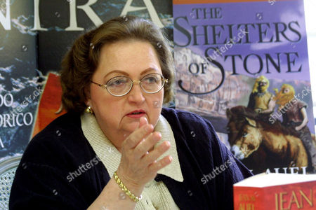 """AUEL Bestselling author Jean Auel gestures during a press conference in Les-Eyzies, southwestern France, . Auel is back after a 12-year absence with the fifth book in her Earth's Children series,""""The Shelters of Stone"""" which settled in Ice Age France"""