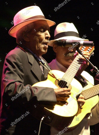 CLUB Cuban players of Buena Vista Social Club Compay Segundo and Barbarito Torres perform at Revolution Plaza Sunday 2, 2002, in Mexico City. The group played a free open air concert