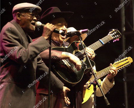 CLUB Cuban group Buena Vista Social Club's musicians, from left Ibrahim Ferrer, Eliades Ochoa and Barbarito Torres perform at Revolution Plaza Sunday 2, 2002, in Mexico City. The group played a free open air concert