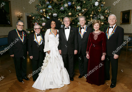 President George W. Bush and Mrs. Laura Bush stand in the Blue Room from left:  Leon Fleisher, Marin Scorsese, Diana Ross, Brian Wilson and Steve Martin.