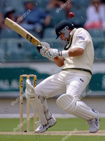 SOUTH AFRICA CRICKET Australian batsman Mark Waugh ducks to avoid a bouncer on the first day of the first cricket test between South Africa and Australia, played at the Wanderers Stadium, Johannesburg, South Africa